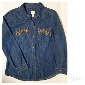 Chico's Denim Long Sleeve Button Front Shirt